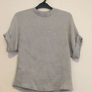 Grey Pleats Top