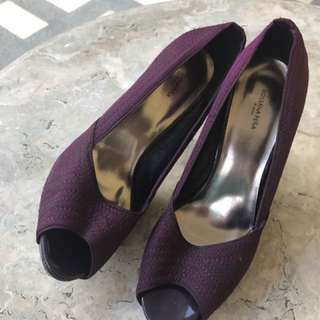 Purple Peep-Toe Heels