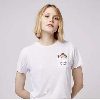 Top Shop Don't Worry Be Monkey Pocket Tee