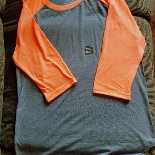 Danskin Drimore Loose Fit Baseball Tee - grey / hot orange - US size L