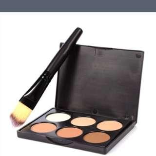 6 colours concealer/contour pallet with brush