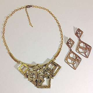 Gold Earrings & Necklace
