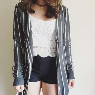 Gray Stripes Button Down Cardigan