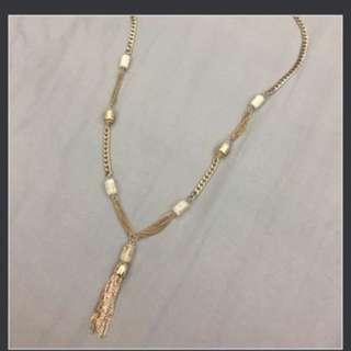 日本CHICO's 流蘇 金色Gatsby wedding bridal 長頸鏈 necklace   99%new
