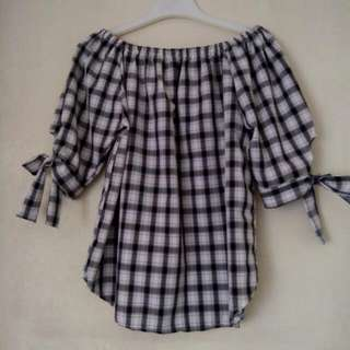 Black & White Checkered Blouse