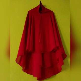 Khimar Ceruty Merah / Hijab
