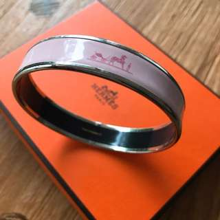 Hermes Wide Bracelet In Enamel And Palladium Plating