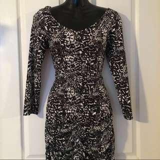 Long Sleeved Black & White Dress