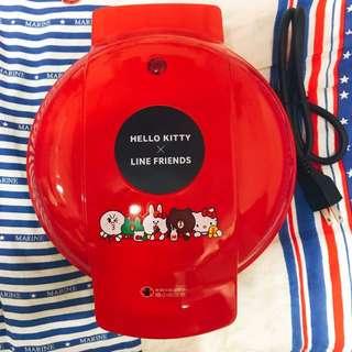 (9.9成新,二手)Line Friends Hello Kitty 屈臣氏 聯名款 鬆餅機 雞蛋糕機 好清洗
