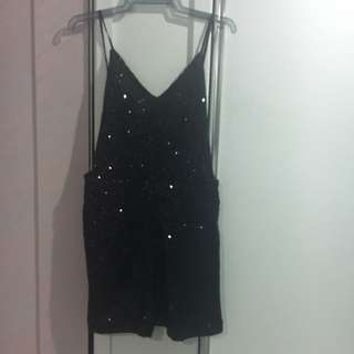Black Sequin Playsuit