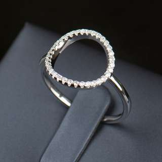 Solid 925 Sterling Silver Classic Fashion Hollow out Hoop Sparkling White And Rose Ring Cubic Zirconia Jewelry Rings