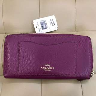 Authentic BN Coach Accordion Zip Leather Wallet