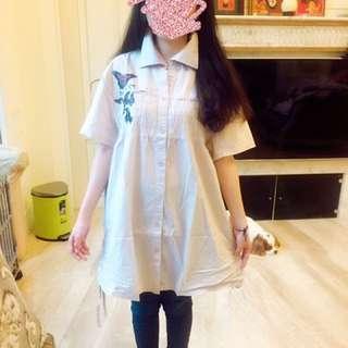 蝴蝶褶紋長版襯衫