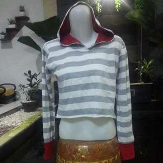 SWEATER SWITER  HOODIE CROP GARIS-GARUS
