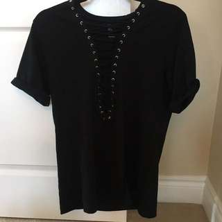 Forever 21 Black Lace Up Tshirt