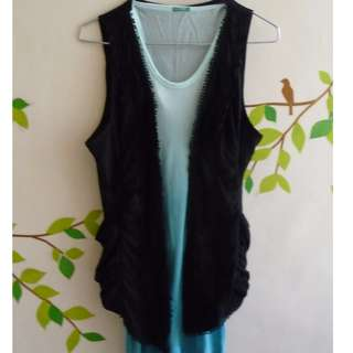 Laced Cotton Vest Cover Up with Pockets