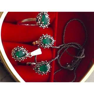 Silver set  925 with Jade stone and black Crystal