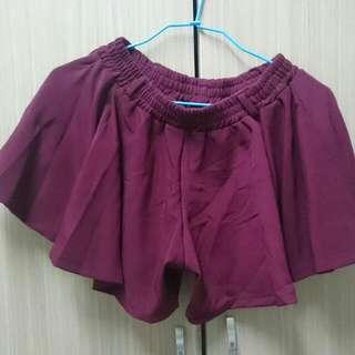 全新酒紅褲裙