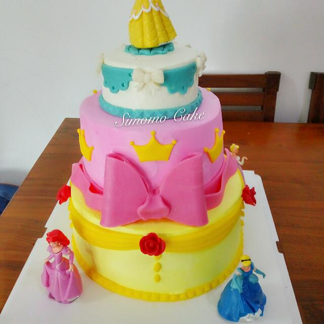 Disney Princess Theme Cake 3 Tier All Princesses Cream Cake Little