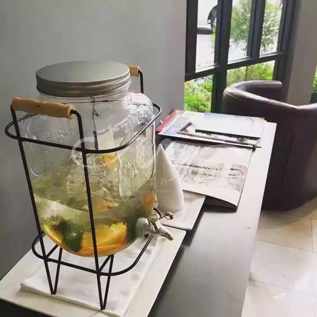 5升無鉛加厚玻璃字母飲水器(含架)