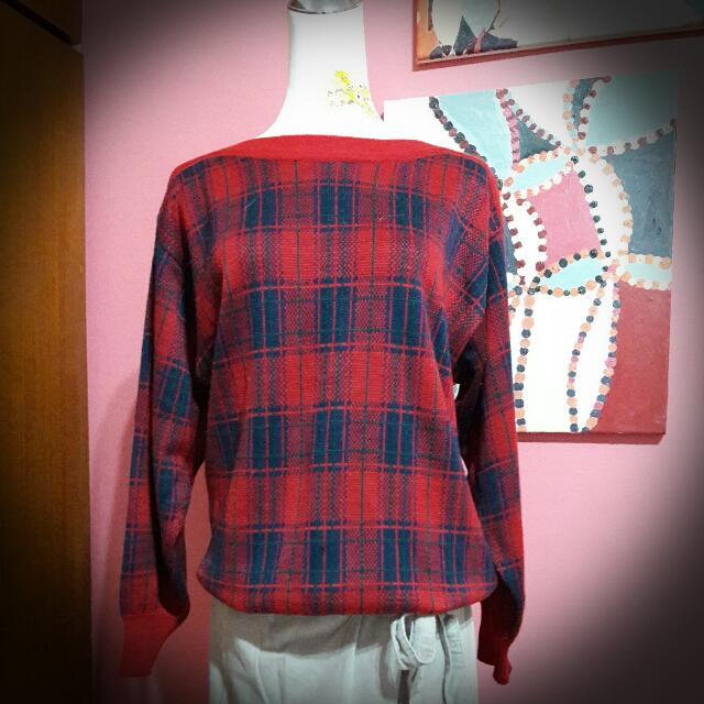 (古著)一字領紅色英倫風毛衣