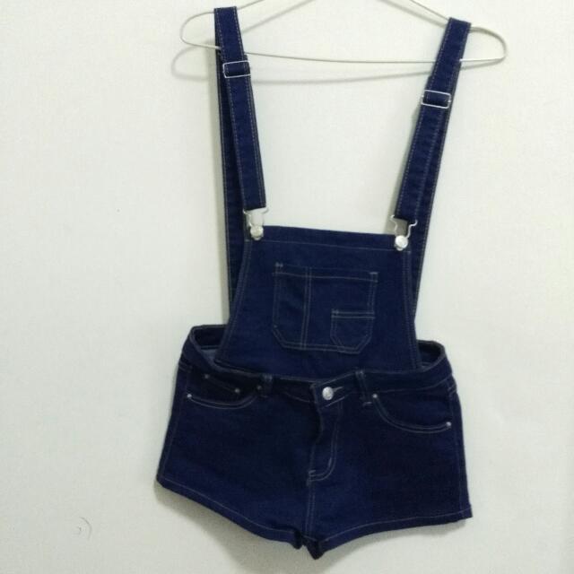 深藍色可拆吊帶褲