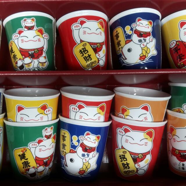 福♡瓷 招財貓💕可愛事業/平安/健康/幸福/招財陶瓷茶杯15入禮盒