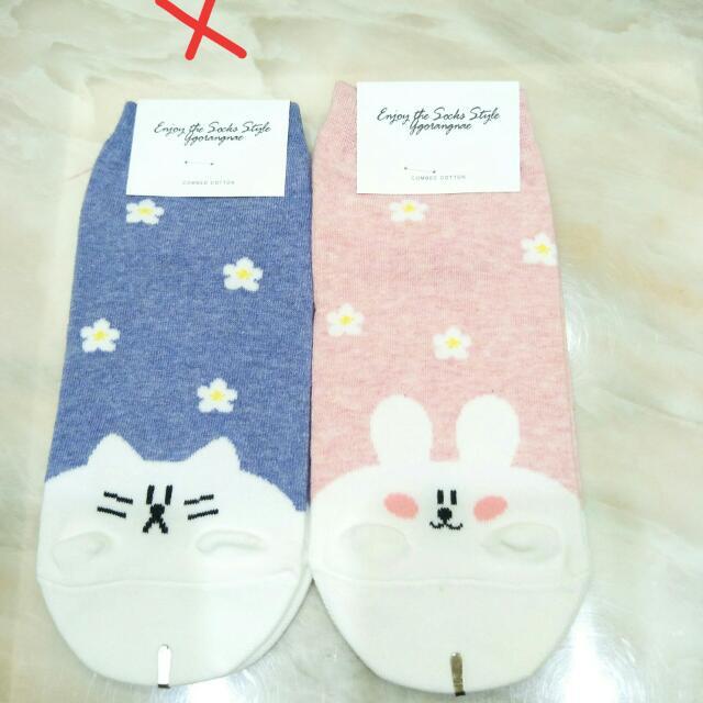正韓 粉嫩花兔子 短襪
