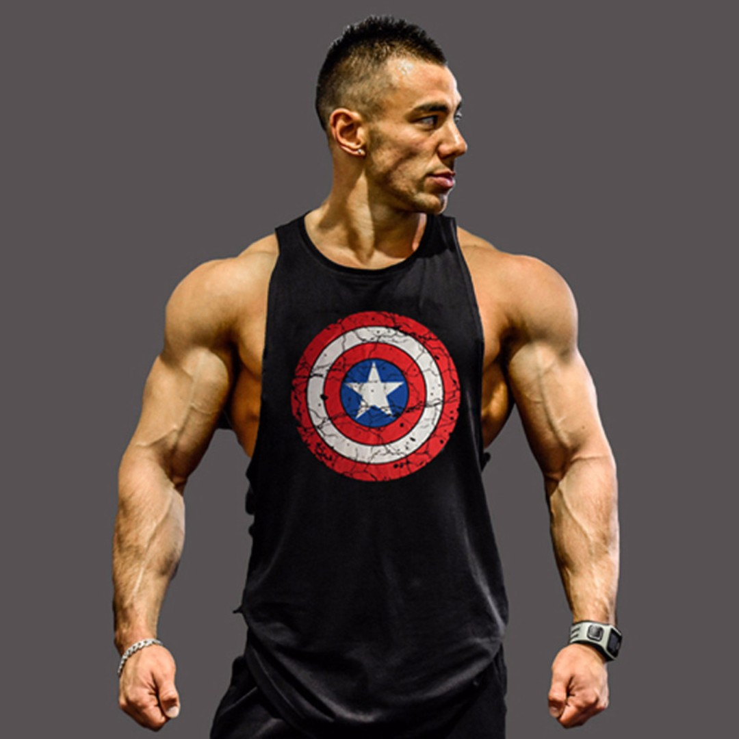 男士運動訓練健美美國隊長印花背心 Captain America Fitness shirt