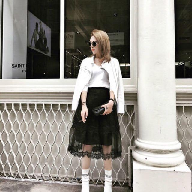 A字拼接兩穿蕾絲紗裙