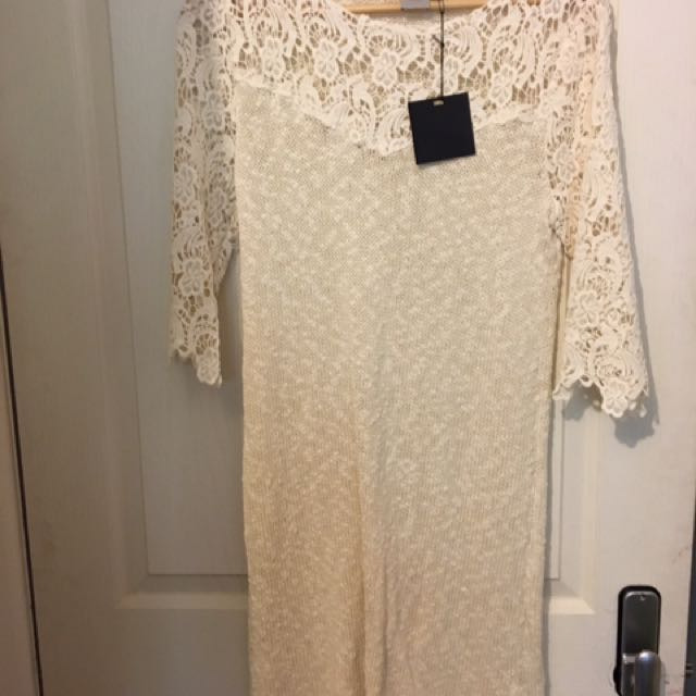ASOS. New, Lace And Cotton Fitted Dress