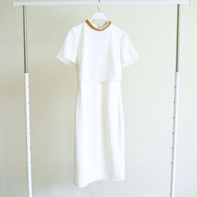 ASOS PETITE White Dress with Gold Neck Details