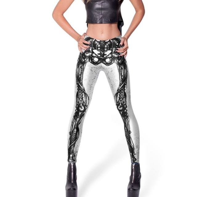 BLACK MILK MECHANICAL BONES WHITE LEGGINGS