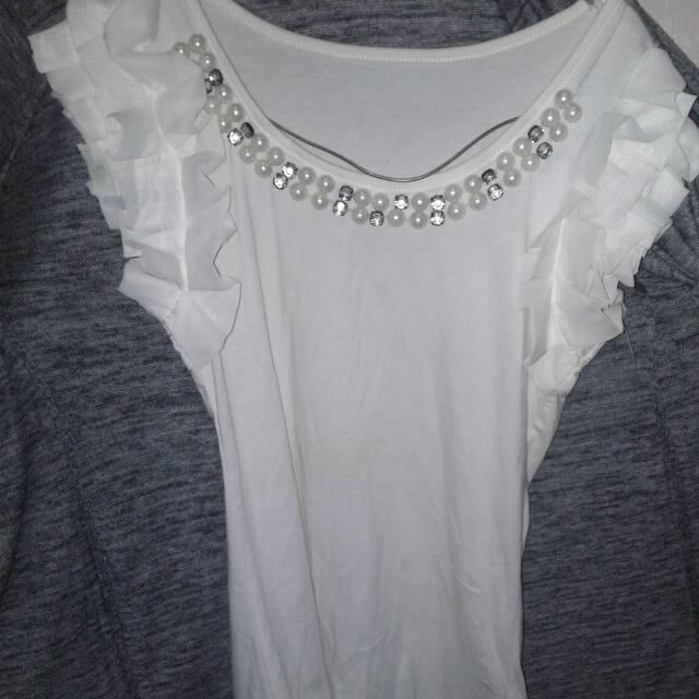 Blouse White With Sprinkle