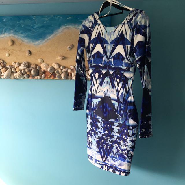 Blue Laser Print Long Sleeve Dress