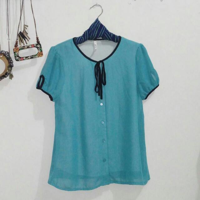 Blue Shirt With Ribbon