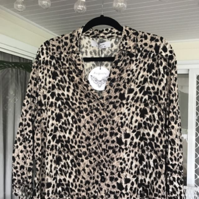 Brand New Auguste The Label Leopard Top Size 8