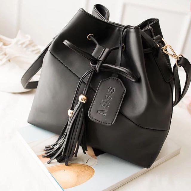 Brand New Black Leather Crossbody Bag