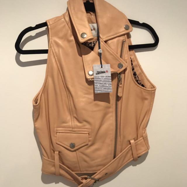 BRAND NEW Jean Paul Gaultier Biker Vest Nude Size 10 RRP $249