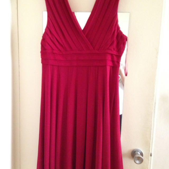 Deep Red V-neck Dress Size 18
