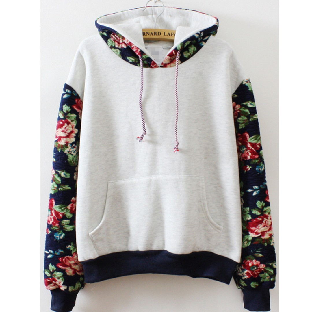 Floral sleeves fleece hoodie