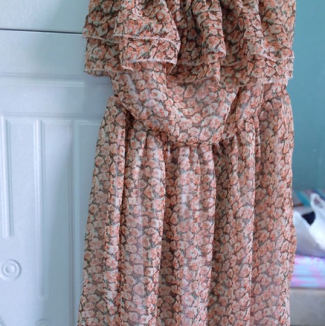 Floral Tube Dress Size S To M