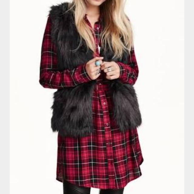 H&M Red Tartan Shirt Dress Check Plaid 10