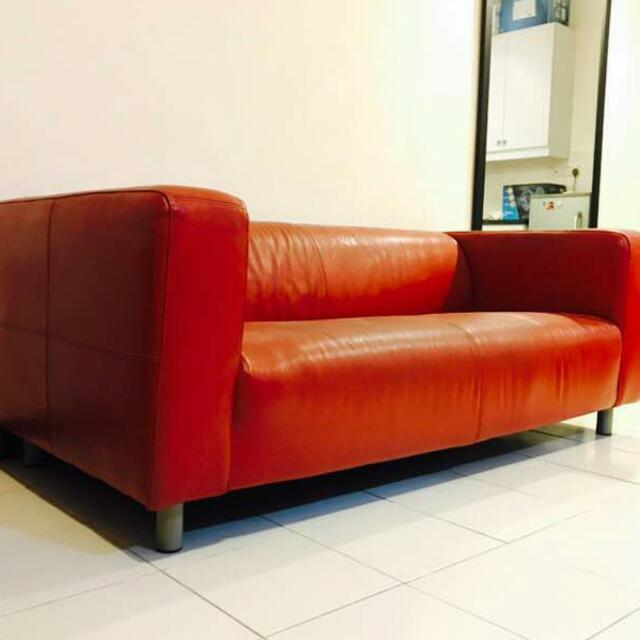 Ikea Klippan Red Faux Leather Sofa