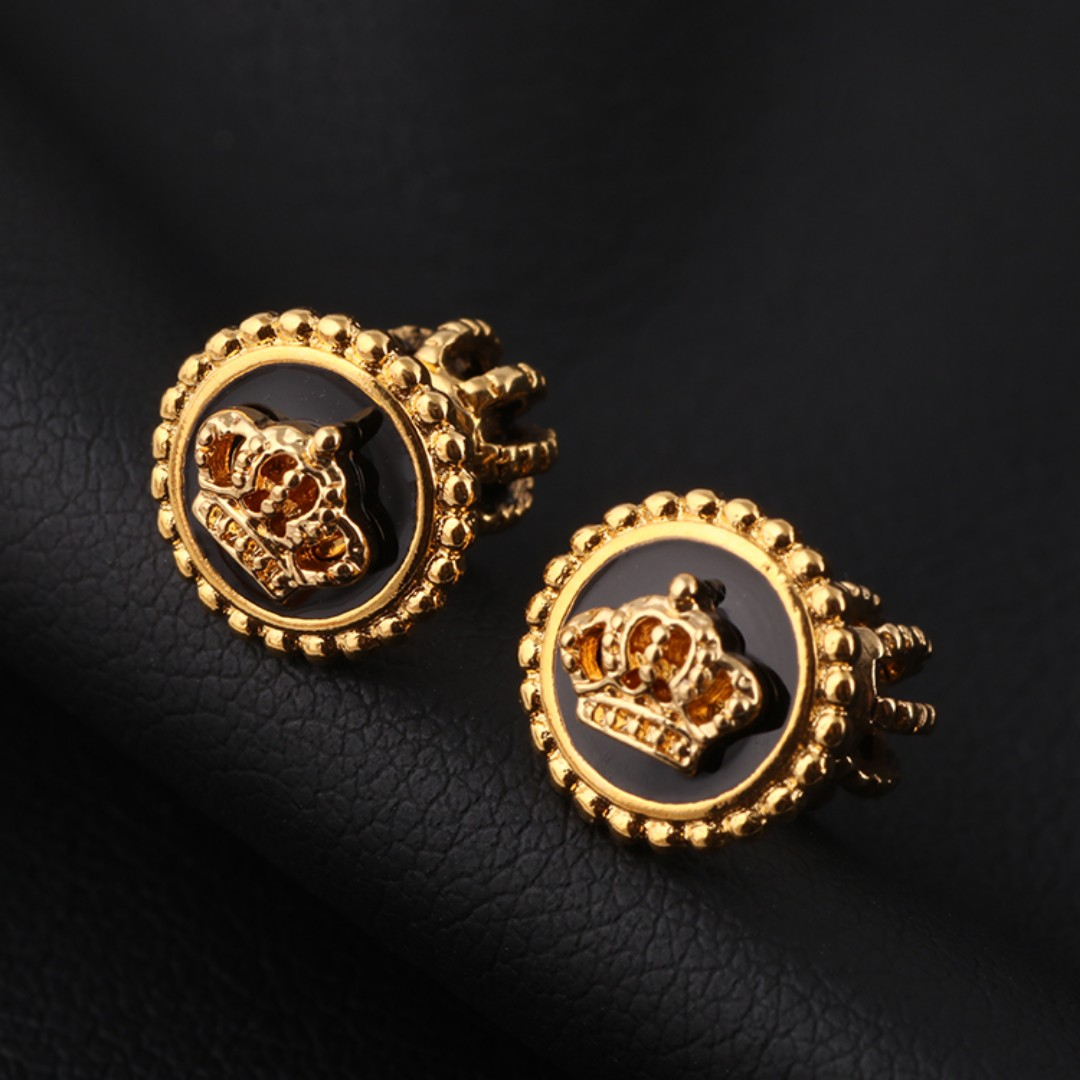 Juicy Couture pearl classic crown fine earrings Gold
