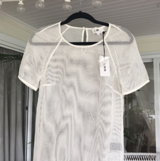 Life With Bird Mesh White Top Size 0 RRP $220