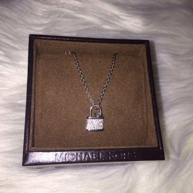 c43c675e78c0d Michael Kors Diamond Silver Padlock Charm Necklace