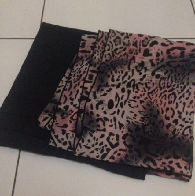 Pasmina Motif Leopard (pink-hitam)