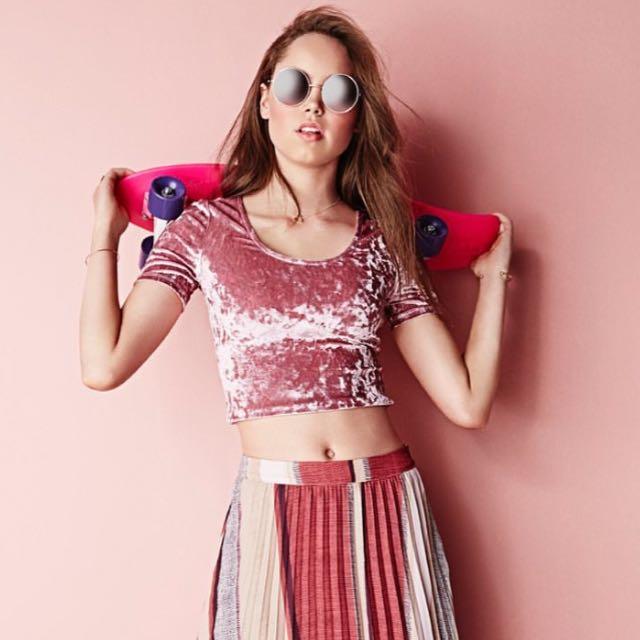 Pink Velvet Midi Shirt