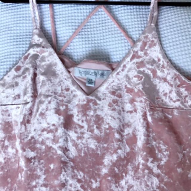 Pink Velvet Singlet